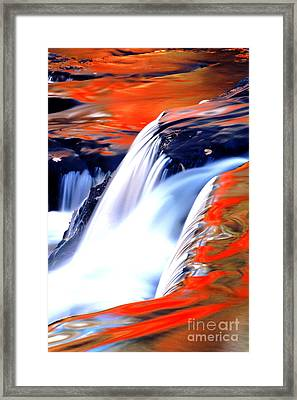 Fire On Water Fall Reflections Framed Print by Robert Kleppin