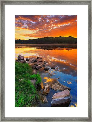 Framed Print featuring the photograph Fire On Water by Kadek Susanto