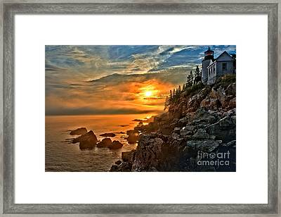 Fire Over Bass Harbor Framed Print by Adam Jewell