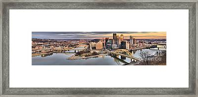 Fire Over The Pittsburgh Skyline Framed Print