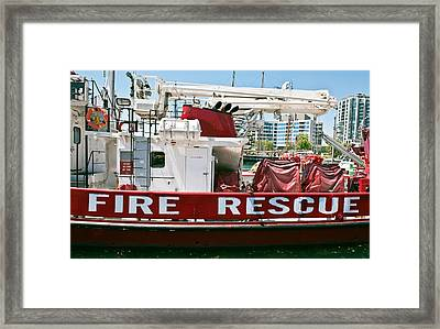 Framed Print featuring the photograph Fire Rescue Boat by Marek Poplawski