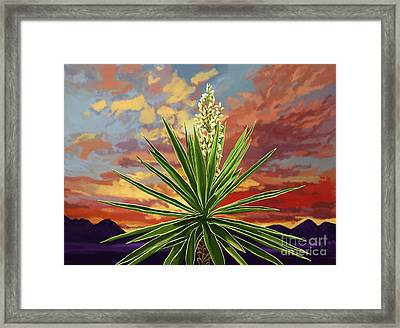 Fire Sky Desert Blooming Yucca Framed Print