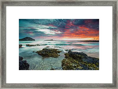 Framed Print featuring the photograph Fire Sky Explosion by Robert  Aycock