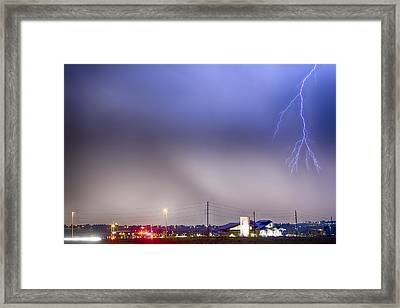 Fire Station Lightning Strike Framed Print