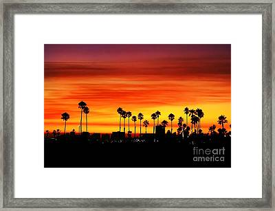 Framed Print featuring the photograph Fire Sunset In Long Beach by Mariola Bitner