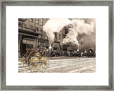 Fire Truck In New York 1890 Collage Framed Print