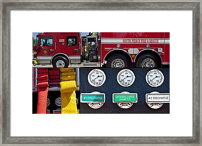 Fire Truck With Isolated Views Framed Print by Tikvah's Hope