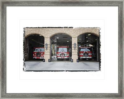 Fire Trucks At The Lafd Fire Station Are Decorated For Christmas Framed Print