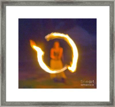 Fire Twirler Alone Framed Print