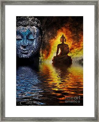 Fire Water Buddha Framed Print by Tim Gainey