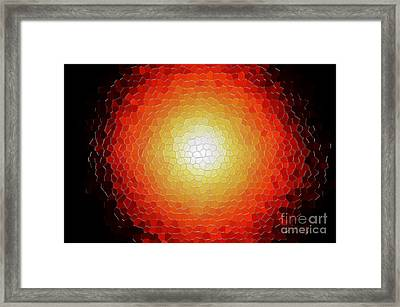 Fireball Sunburst A Tiffany Look Stain Glass Framed Print by Andee Design