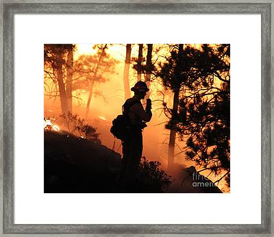 Firefighter At Night On The White Draw Fire Framed Print
