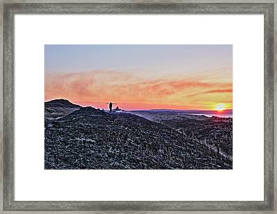 Firefighter At Sunset Framed Print by Tony Reddington