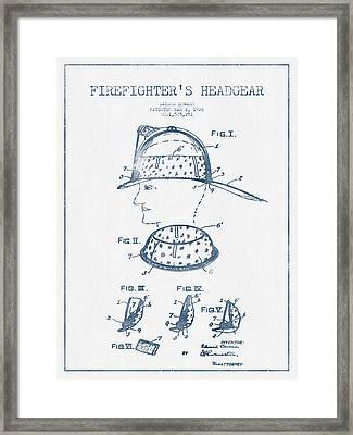 Firefighter Headgear Patent Drawing From 1926- Blue Ink Framed Print by Aged Pixel