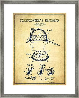 Firefighter Headgear Patent Drawing From 1926 - Vintage Framed Print