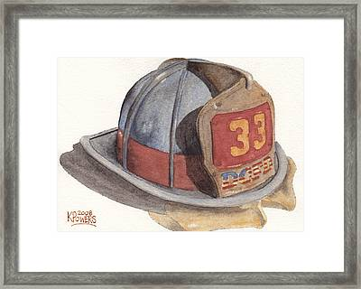 Firefighter Helmet With Melted Visor Framed Print by Ken Powers