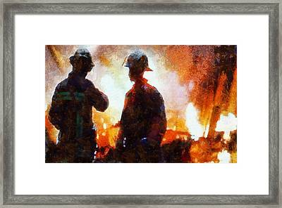 Firefighters At The Scene Framed Print by Dan Sproul
