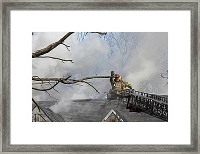 Firefighters Attending A House Fire Framed Print by Jim West