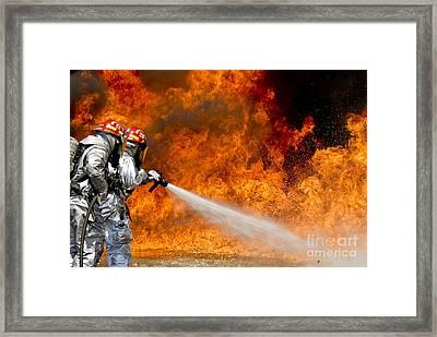 Firefighters Combat A Jp-8 Jet Fuel Framed Print