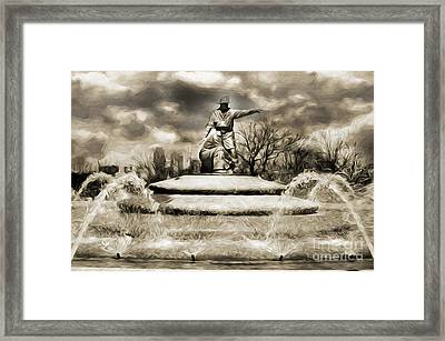 Firefighters Memorial Fountain Bw Framed Print by Andee Design