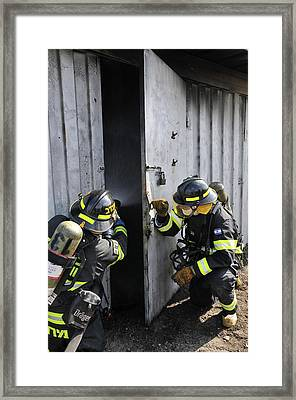 Firefighters With Protective Equipment Framed Print