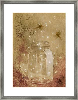 Fireflies And Dragonflies Framed Print