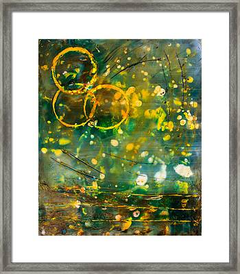 Fireflies Encaustic Framed Print by Bellesouth Studio