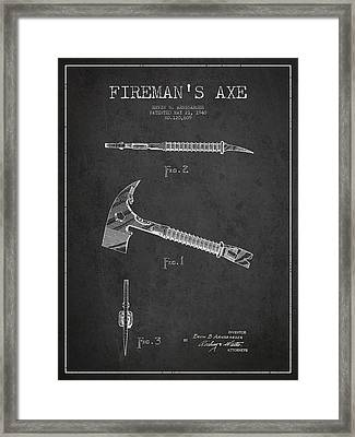 Fireman Axe Patent Drawing From 1940 Framed Print by Aged Pixel