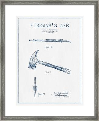 Fireman Axe Patent Drawing From 1940- Blue Ink Framed Print by Aged Pixel