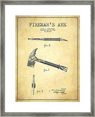 Fireman Axe Patent Drawing From 1940 - Vintage Framed Print by Aged Pixel