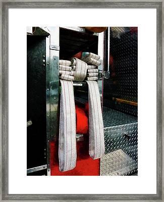 Fireman - Closeup Of Fire Hoses Framed Print by Susan Savad
