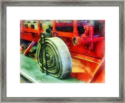 Fireman - Coiled Hose On Fire Truck Framed Print by Susan Savad