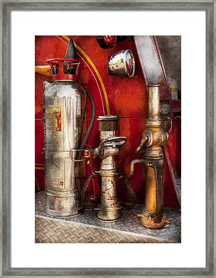 Fireman - Fighting Fires  Framed Print by Mike Savad