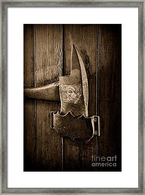 Fireman - Fire Axe In Black And White Framed Print by Paul Ward