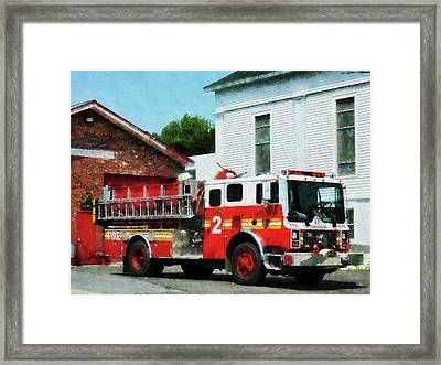 Fireman - Fire Engine In Front Of Fire Station Framed Print by Susan Savad