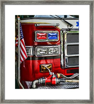 Fireman - Fire Engine Framed Print