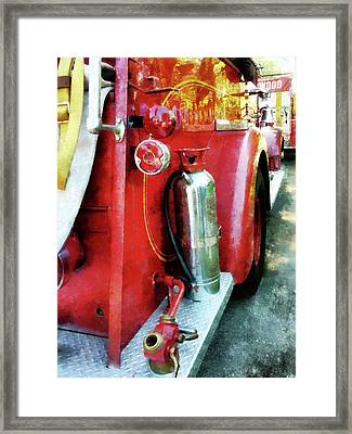 Fireman - Fire Extinguisher On Fire Truck Framed Print by Susan Savad