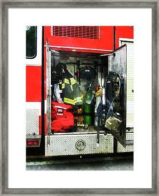 Fireman - Fire Fighting Gear Framed Print by Susan Savad