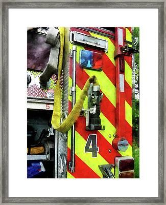 Fireman - Fire Hose On Striped Fire Engine Framed Print by Susan Savad