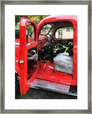 Fireman - Fire Truck With Fireman's Uniform Framed Print