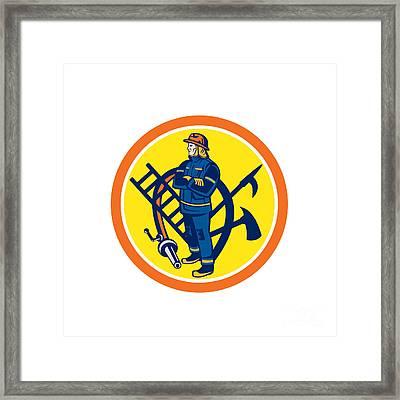 Fireman Firefighter Fire Hose Ladder Circle Framed Print