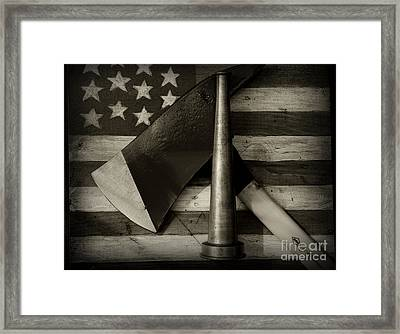 Fireman - Firefighter Pride In Black And White Framed Print by Paul Ward
