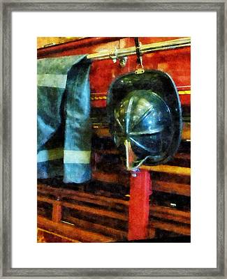 Fireman - Fireman's Helmet And Jacket Framed Print by Susan Savad