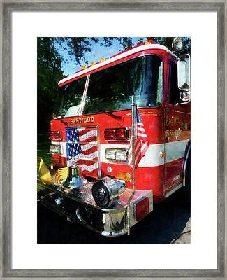 Fireman - Front Of Fire Engine Framed Print by Susan Savad