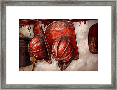 Fireman - Hat - Old Fashioned Fire Hats  Framed Print by Mike Savad