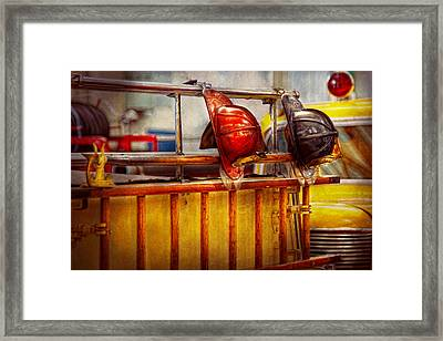 Fireman - Hat - Waiting For A Hero  Framed Print by Mike Savad