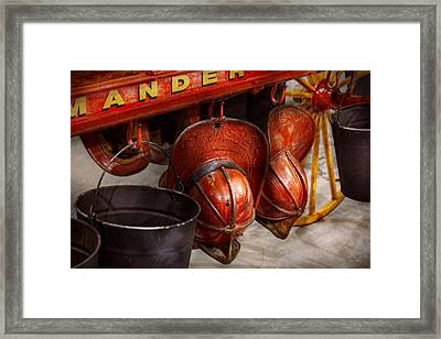Fireman - Hats - I Volunteered For This  Framed Print by Mike Savad