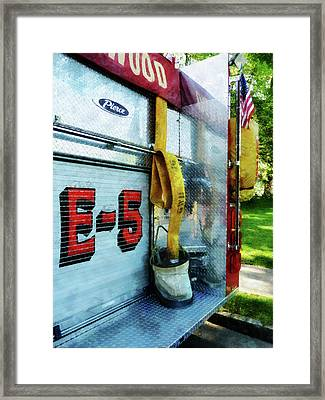 Fireman - Hose In Bucket On Fire Truck Framed Print by Susan Savad