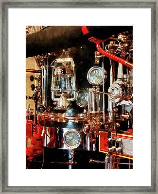 Fireman - Lantern And Gauges On Fire Truck Framed Print by Susan Savad