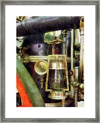Fireman - Lantern On Fire Truck Framed Print by Susan Savad